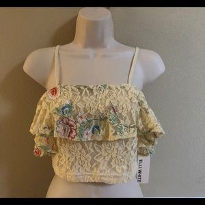 LF Lace Floral Embroidered Crop Top Beige